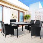 Jurhan & Co.KG Germany Súprava ratanového záhradného nábytku JANINA 6+1 čierna