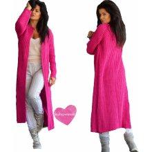 Fashionweek Luxusné nezvyčajné pletené dlhé svetre kabát MAXI SV06 Farba   Amarant 54e9d459817