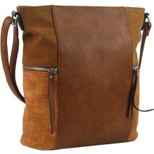 dámska crossbody kabelka s bočnými vreckami AE-9025 Hnedá e5b92500851