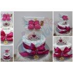 Darčeky-Bambi Plienková torta dvojposchodová s korunkou cyklaménová