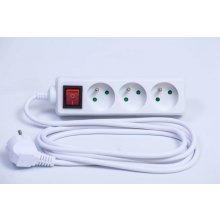 Solight PP10 predlžovací kábel 1,5m 3 zásuvky vypínač biely