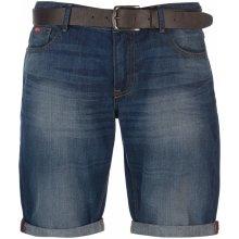 Lee Cooper Belted Shorts Mens Mid Wash