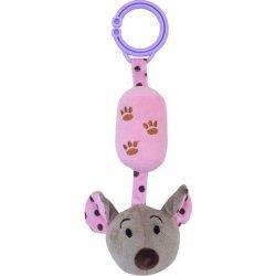 Baby Mix plyšová s rolničkou myška ružová
