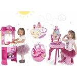 Smoby 24023-1 set kuchynka Disney Princezné s hodinami a kozmetický stolík so stoličkou