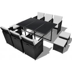 db6d4595a7e23 vidaXL 40836 Ratanový čierny jedálenský nábytok, 1 stôl, 6 stoličiek, 4  taburetky