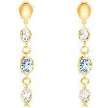 Šperky eshop náušnice zo žltého zlata visiace ovály zirkóny svetloej a čírej  farby GG208.36 4eeea13fdcb