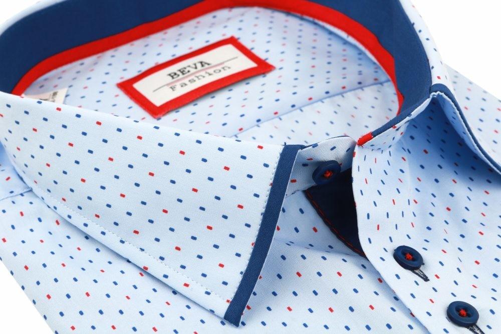 17731aa293bf Pánska košeľa Pánska modrá košeľa krátky rukáv BEVA KLASIK ...