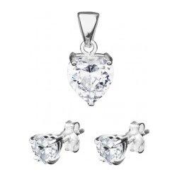 8c52ba9ed Šperky eshop Strieborná sada srdiečkové náušnice a prívesok, zirkón na  podložke X23.4