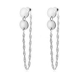 Šperky eshop strieborné náušnice dva ploché kruhy retiazka spojená s  brzdítkom SP03.03 9b65dbd7572