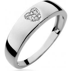 Zlatý diamantový zásnubný prsteň so srdiečkom Lauriane white BSBR015A 9a24f601b17