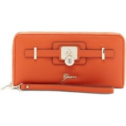 Guess Elegantná peňaženka Greyson Large Zip-Around cognac