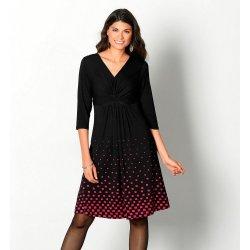 7eb34f9917ae Blancheporte úpletové šaty s potlačou na spodnom diele čierna červená