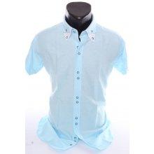 606ac2bbb698 Pánska košeľa s bielym lemovaním (SLIM FIT) - bledotyrkysová