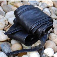 Čierny široký dlhý kožený opasok