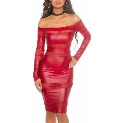9c690d60f942 Dámske sexi koženkové šaty KouCla so širokým výstrihom bordová od 33 ...