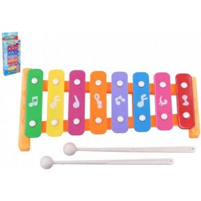 Xylofón 26cm kov / plast + 2 paličky v krabici 13,5x32x4cm - výber 3 farby