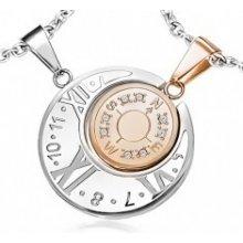 Set príveskov - skladačka v medenej a striebornej farbe, kompas a hodiny R13.15