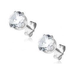 5b0cd6264 Šperky eshop strieborné puzetové náušnice číry brúsený zirkón v kalichu,  Q5.7