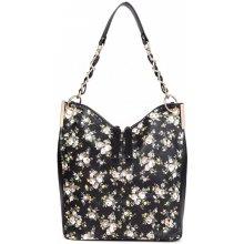 Miss Lulu Veľká kabelka cez rameno v motíve kvetín čierna 90f6434fe46