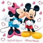 AG Design Samolepka na stenu Mickey a Minnie love Film 30x30 cm