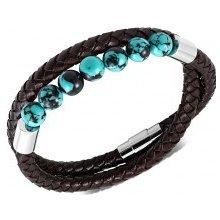 b268c2d6d Šperky eshop tmavohnedý náramok z umelej kože pletený tyrkysovo-čierne  guličky SP16.08