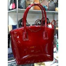 kabelka lakovaná zlaté kovanie Metalický odlesk kufrík červená 0256c422b2a