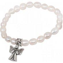 76a1d9dfe JwL Luxury Pearls jemný náramok z pravých perál s kovovým anjelikom JL0418