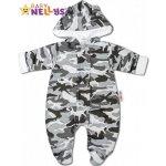 Baby Nellys Kombinézka s kapucňu a uškami ARMY sivá