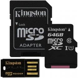 Kingston microSDXC 64GB Mobility Kit G2 + adapter + USB čítačka MBLY10G2/64GB