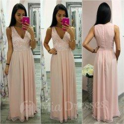 Púdrové šifónové šaty s krajkou od 72 0d0d6a0d2cd