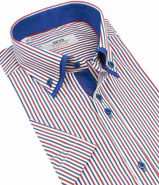 58f0a30dbb2d Pánska košeľa Biela SLIM košeľa červeno- modré prúžky BEVA 137 6 KR ...