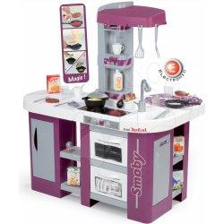 SMOBY 311005 elektronická kuchynka TEFAL STUDIO XL fialovo-strieborná s jedálňou opečenými potravinami a chladničkou zvuková + 36 doplnkov 100 cm výšk