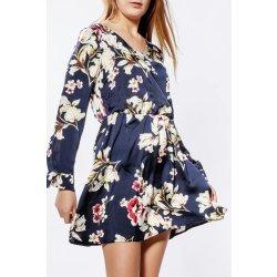 Krátke tmavomodré kvetované šaty s dlhým rukávom od 19 119f18d6342