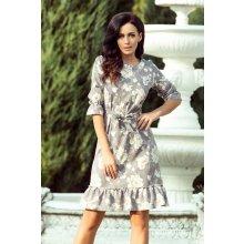 3a65442327a4 NUMOCO Romantické šaty s volánom 193-4 MAYA - kvetinové Szary Kwiatowy Ecru
