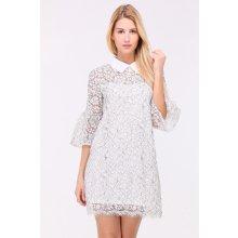 2ef815b5e338 Biele čipkované mini šaty s golierom