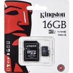 Kingston microSDHC 16GB UHS-I U1 + adaptér SDC10G2/16GB