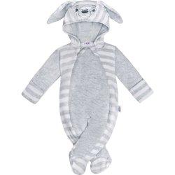 New Baby Dojčenská semišková kombinézka Rabbit šedá