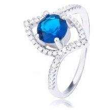 Šperky eshop Strieborný prsteň 925 zvlnená elipsa vystúpený tmavomodrý  zirkón BB6.19 2f49df694e5