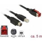 Delock 85491 PoweredUSB samec 24 V > USB Typ-B samec + Hosiden Mini-DIN 3 pin samec, 5m