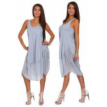 20da6ba9b9df Nádherné módne letné bavlnené šaty BOHO ITALY TC665 Šedá