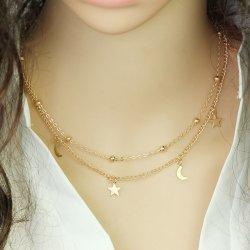 a35080a73 TrendyVeci Elegantný viacvrstvový náhrdelník s hviezdami a mesiačikmi TV981