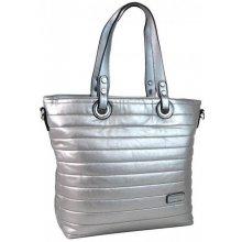 Prošívaná elegantní kabelka na rameno YH1605 stříbrná