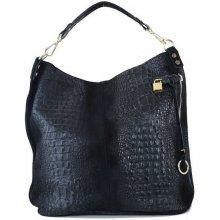 21b4355cc3 XL Talianska shopperka kožená kabelka veľká na plece čierna Valika