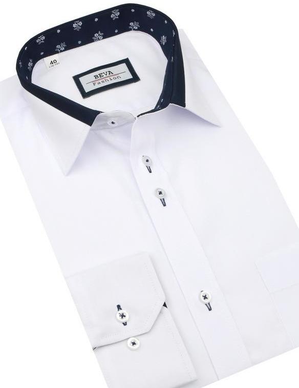 342277f90334 Pánska košeľa Beva Slim Elegantná biela košeľa dlhý rukáv 2T140 ...