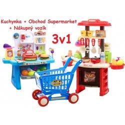 4000219717ef JOKO Veľká Súprava 3v1 kuchynka Obchod Nákupný košík modrá od 40