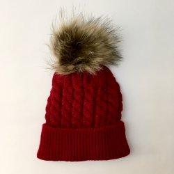 00a8c8bd1 Červená zimná čiapka pre novorodenca s brmbolcom alternatívy ...