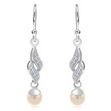 227e79547 Šperky eshop strieborné náušnice dve zirkónové vlnky biela guľatá perla  SP84.04