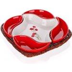 Banquet Red Poppy servírovacie misky v košíku 5 dielov