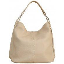 e61360c671 Talianska Veľká kožená kabelka na plece vrecovitá Ludmila béžová