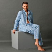 Blancheporte pánské pyžamo dlouhé propínací flanel modré